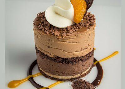 Mousse de Chocolate con Mandarina y Caramelo Salado
